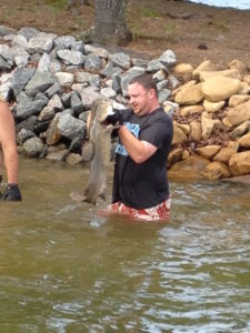 noodling channel catfish hole